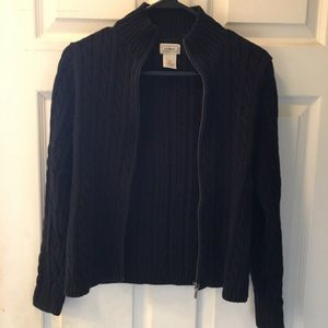 Lands end cable knit zip up sweater